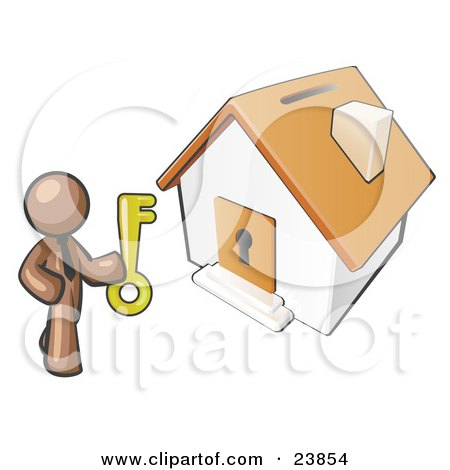 Clipart Illustration of a Brown Businessman Holding A Skeleton Key And Standing In Front Of A House With A Coin Slot And Keyhole by Leo Blanchette