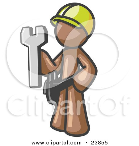 Clipart Illustration of a Proud Brown Construction Worker Man in a Hardhat, Holding a Wrench Clipart Illustration by Leo Blanchette