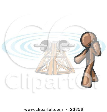 Clipart Illustration of a Brown Businessman Talking on a Cell Phone, a Communications Tower in the Background by Leo Blanchette