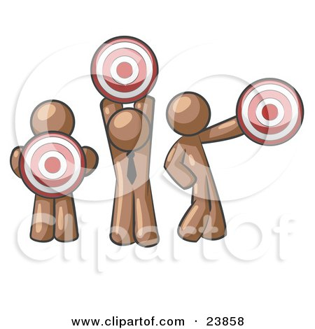 Clipart Illustration of a Group Of Three Brown Men Holding Red Targets In Different Positions by Leo Blanchette