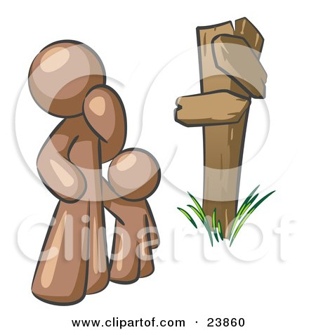 Clipart Illustration of an Uncertain Brown Man And Child Standing At A Wooden Post, Trying To Decide Which Direction To Go At A Crossroads by Leo Blanchette