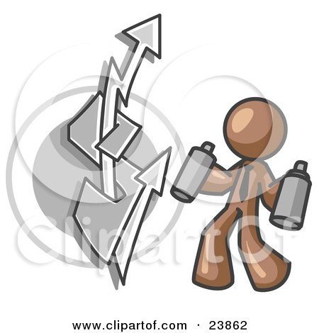 Clipart Illustration of a Brown Business Man Spray Painting a Graffiti Dollar Sign on a Wall by Leo Blanchette