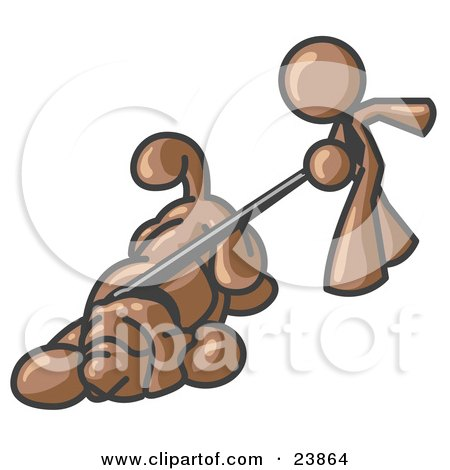 Clipart Illustration of a Brown Man Walking a Dog That is Pulling on a Leash by Leo Blanchette