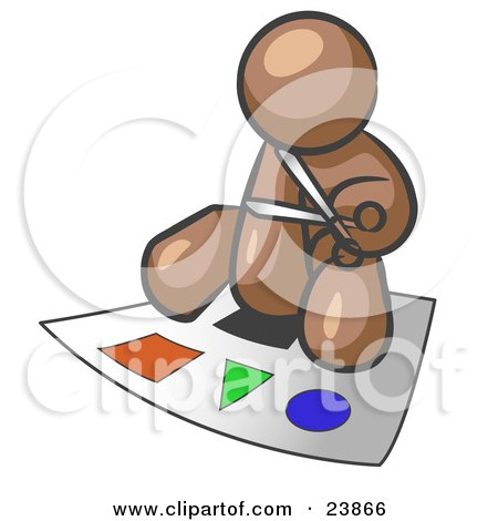 Clipart Illustration of a Brown Man Holding A Pair Of Scissors And Sitting On A Large Poster Board With Colorful Shapes by Leo Blanchette