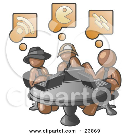 Clipart Illustration of Three Brown Men Using Laptops in an Internet Cafe by Leo Blanchette