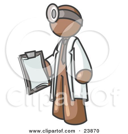 Clipart Illustration of a Brown Male Doctor Holding a Clipboard And Wearing a Head Lamp by Leo Blanchette
