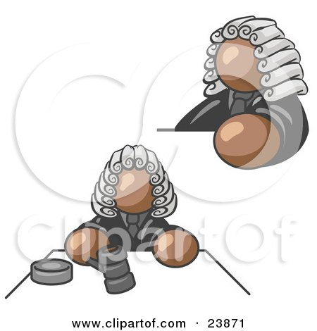 Clipart Illustration of a Brown Judge Man Wearing a Wig in Court by Leo Blanchette