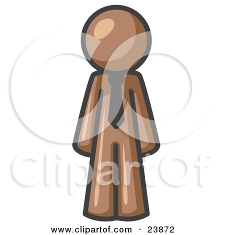 Clipart Illustration of a Brown Business Man Wearing a Tie, Standing With His Arms at His Side by Leo Blanchette