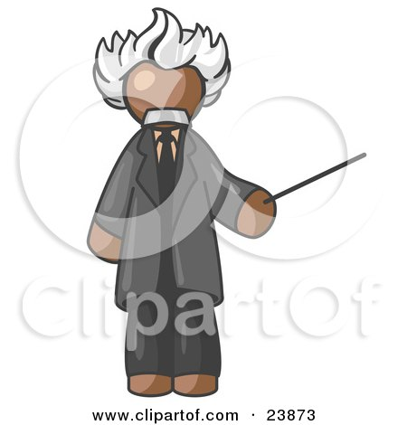 Clipart Illustration of a Brown Man Depicted as Albert Einstein Holding a Pointer Stick by Leo Blanchette