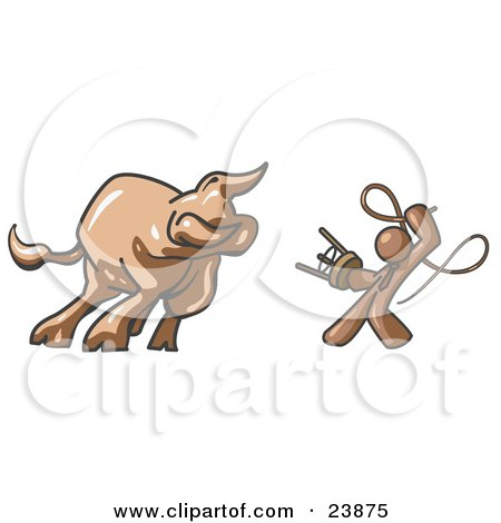 Clipart Illustration of a Brown Man Holding a Stool and Whip While Taming a Bull, Bull Market by Leo Blanchette