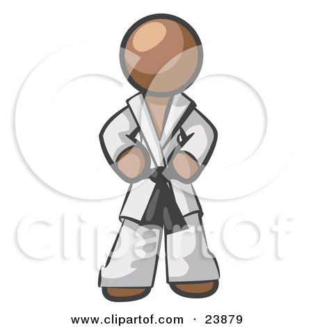 Clipart Illustration of a Tough Brown Man In A White Karate Suit And A Black Belt, Standing With His Hands On His Hips by Leo Blanchette