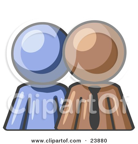 Clipart Illustration of a Blue Person Standing Beside A Brown  Businessman, Symbolizing Teamwork Or Mentoring by Leo Blanchette