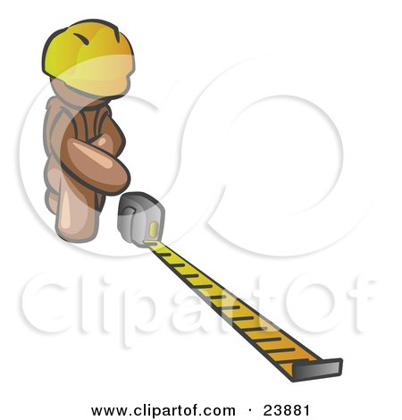 Clipart Illustration of a Brown Man Contractor Wearing A Hardhat, Kneeling And Measuring by Leo Blanchette