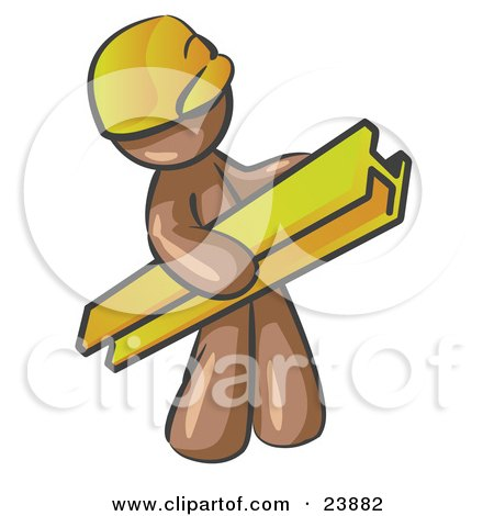 Clipart Illustration of a Brown Man Construction Worker Wearing A Hardhat And Carrying A Beam At A Work Site by Leo Blanchette