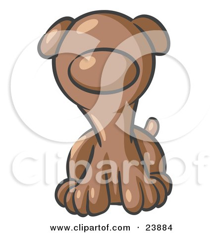 Clipart Illustration of a Cute Brown Puppy Dog Looking Curiously at the Viewer by Leo Blanchette