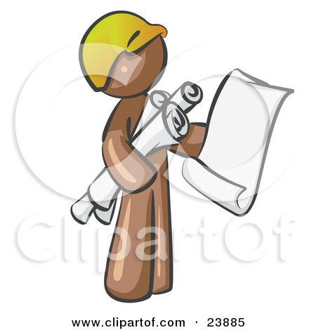 Clipart Illustration of a Brown Man Contractor Or Architect Holding Rolled Blueprints And Designs And Wearing A Hardhat by Leo Blanchette
