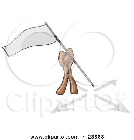 Clipart Illustration of a Brown Man Claiming Territory or Capturing the Flag by Leo Blanchette