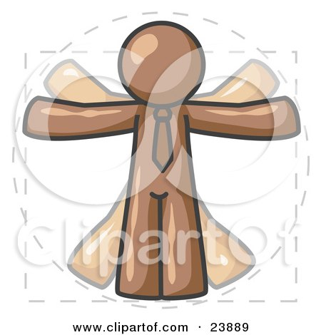 Clipart Illustration of a Man in Motion, Brown Vitruvian Cartoon Man by Leo Blanchette