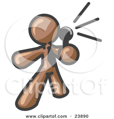 Clipart Illustration of a Brown Man Holding a Megaphone and Making an Announcement by Leo Blanchette
