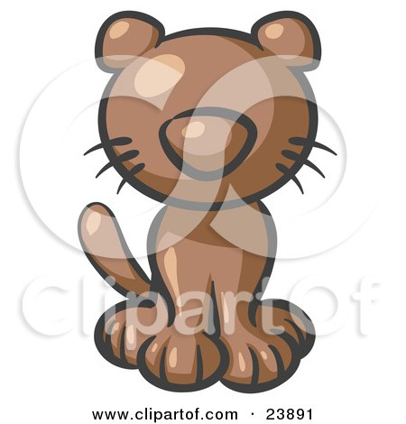 Clipart Illustration of a Cute Brown Kitty Cat Looking Curiously at the Viewer by Leo Blanchette