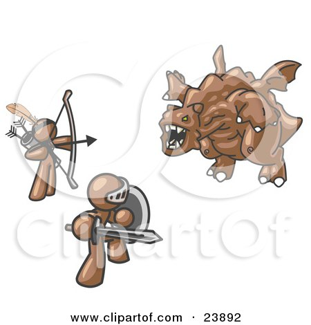 Clipart Illustration of Two Brown Men Working Together to Conquer an Obstacle, a Dragon by Leo Blanchette