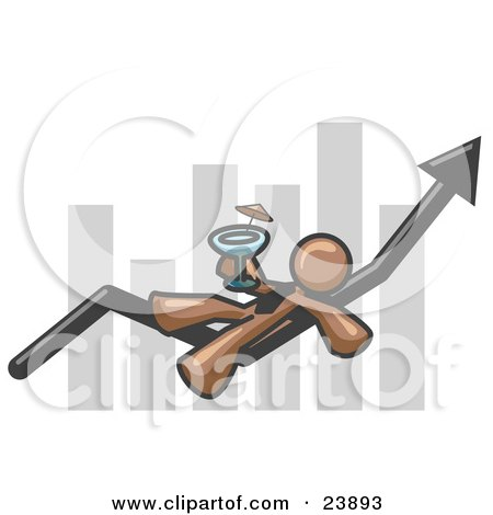 Brown Business Owner Man Relaxing on an Increase Bar and Drinking, Finally Taking a Break Posters, Art Prints