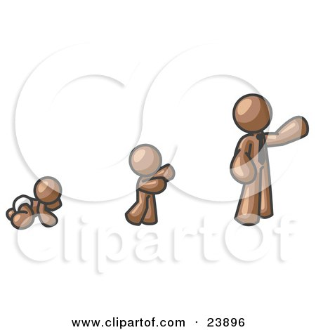 Clipart Illustration of a Brown Man in His Growth Stages of Life, as a Baby, Child and Adult by Leo Blanchette