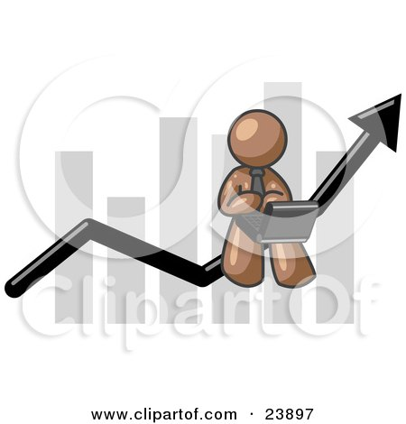 Brown Man Conducting Business On A Laptop Computer On An Arrow Moving Upwards In Front Of A Bar Graph, Symbolizing Success Posters, Art Prints