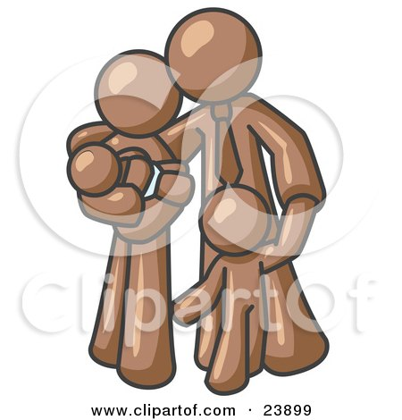 Clipart Illustration of a Brown Family Man, a Father, Hugging His Wife and Two Children by Leo Blanchette