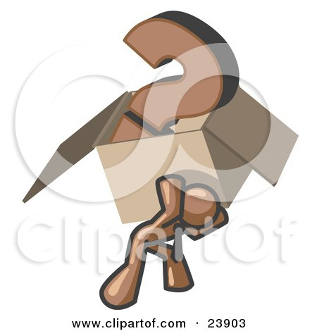 Brown Man Carrying a Heavy Question Mark in a Box Posters, Art Prints