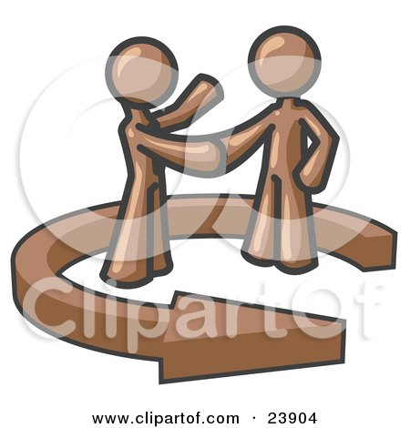 Clipart Illustration of a Brown Salesman Shaking Hands With a Client While Making a Deal by Leo Blanchette