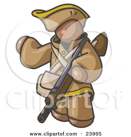 Clipart Illustration of a Brown Man in Hunting Gear, Carrying a Rifle by Leo Blanchette