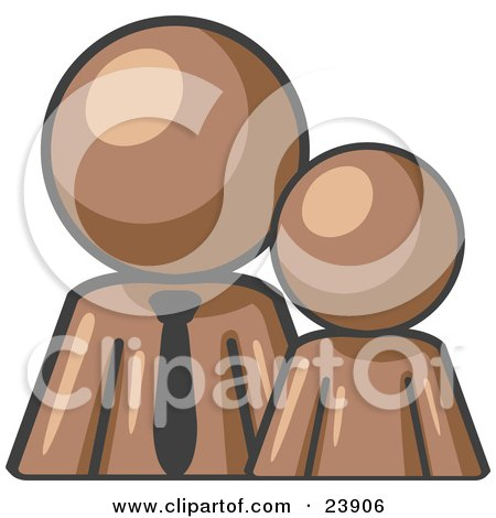 Clipart Illustration of a Brown Child Or Employee Standing Beside A Bigger Blue Businessman, Symbolizing Management, Parenting Or Mentorship by Leo Blanchette