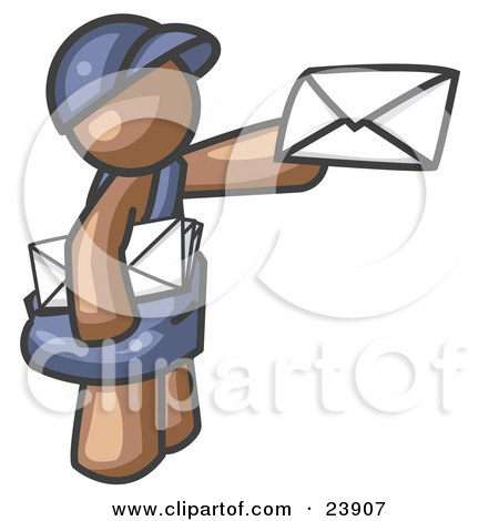 Clipart Illustration of a Brown Mail Man Delivering a Letter by Leo Blanchette