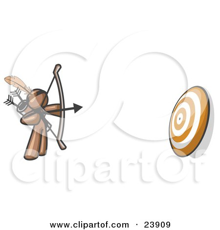 Clipart Illustration of a Brown Man Aiming a Bow and Arrow at a Target During Archery Practice by Leo Blanchette