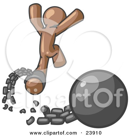 Clipart Illustration of a Brown Man Jumping For Joy While Breaking Away From a Ball and Chain, Symbolizing Freedom From Debt Or Divorce by Leo Blanchette