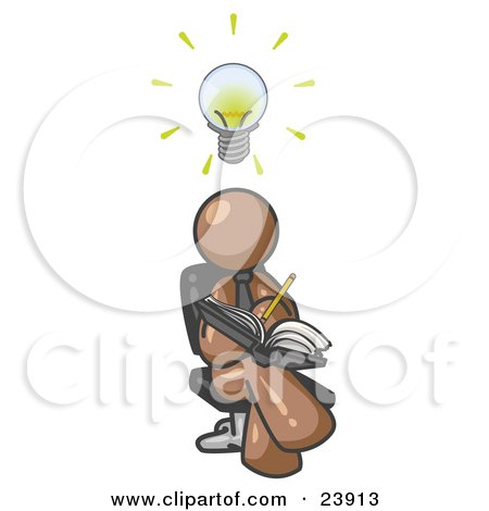Clipart Illustration of a Smart Brown Man Seated With His Legs Crossed, Brainstorming and Writing Ideas Down in a Notebook, Lightbulb Over His Head by Leo Blanchette