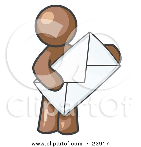 Clipart Illustration of a Brown Person Standing And Holding A Large Envelope, Symbolizing Communications And Email by Leo Blanchette