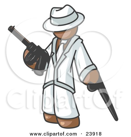 Clipart Illustration of a Brown Gangster Man Carrying a Gun and Leaning on a Cane by Leo Blanchette