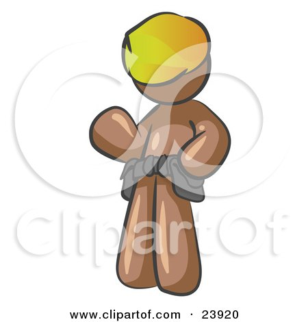 Clipart Illustration of a Friendly Brown Construction Worker Or Handyman Wearing A Hardhat And Tool Belt And Waving by Leo Blanchette