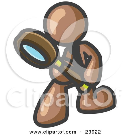 Clipart Illustration of a Brown Man Bending Over to Inspect Something Through a Magnifying Glass by Leo Blanchette