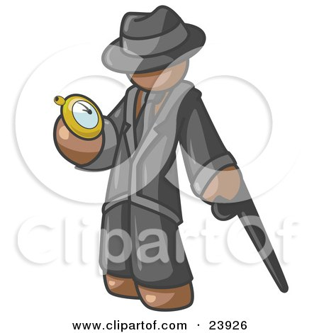 Clipart Illustration of a Brown Businessman Checking His Pocket Watch by Leo Blanchette