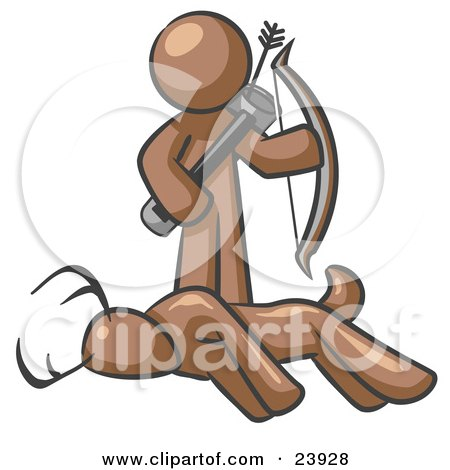 Clipart Illustration of a Brown Man, A Hunter, Holding A Bow And Arrow Over A Dead Buck Deer by Leo Blanchette