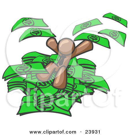 Clipart Illustration of a Brown Business Man Jumping in a Pile of Money and Throwing Cash Into the Air by Leo Blanchette