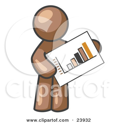 Clipart Illustration of a Brown Man Holding A Bar Graph Displaying An Increase In Profit by Leo Blanchette