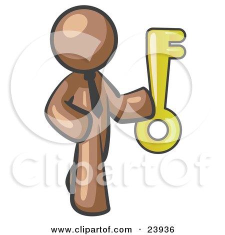 Clipart Illustration of a Brown Businessman Holding up a Large Golden Skeleton Key by Leo Blanchette