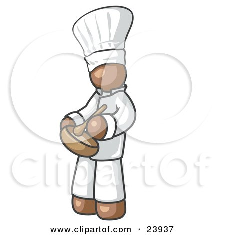 Clipart Illustration of a Brown Baker Chef Cook in Uniform and Chef's Hat, Stirring Ingredients in a Bowl by Leo Blanchette