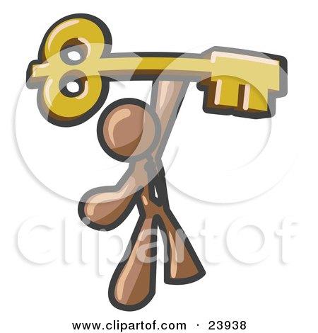 Clipart Illustration of a Brown Businessman Holding A Large Golden Skeleton Key, Symbolizing Success by Leo Blanchette