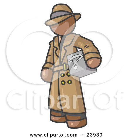 Clipart Illustration of a Secretive Brown Man in a Trench Coat and Hat, Carrying a Box With a Question Mark on it by Leo Blanchette