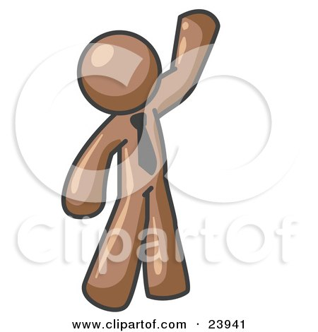 Clipart Illustration of a Friendly Brown Man Greeting and Waving by Leo Blanchette